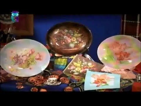 Обратный декупаж. Декорируем тарелки в технике дымка. Мастер класс. Наташа Фохтина