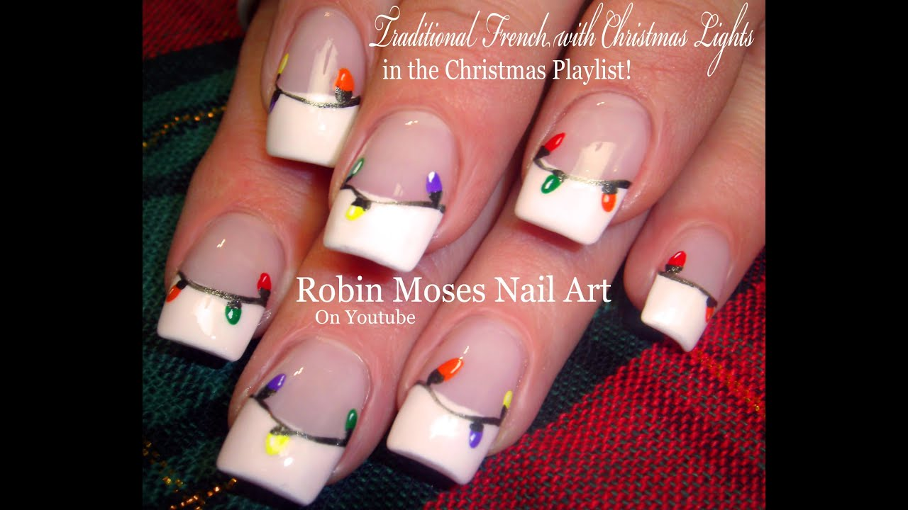 Easy Christmas Nails Diy Traditional Xmas Lights Nail Art Design