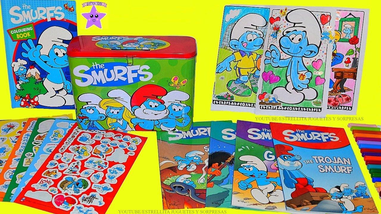 Los Pitufos Caja De Actividades Libro Para Colorear Colores Y Calcomanias Stickers