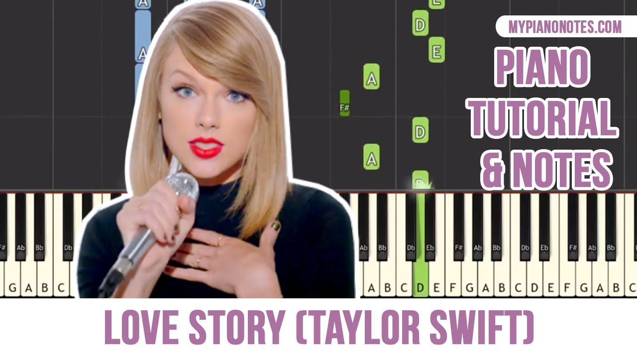 Love Story Piano Notes with Letters and Chords - For Beginners