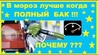 Почему в мороз лучше поддерживать полный бак бензина.И от куда в баке берется вода?
