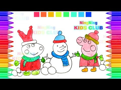 Peppa Pig Coloring Pages on Christmas Day with Jingle Bells Music