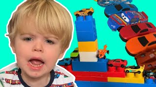 Toddler has meltdown over playing cars blocks fun! video for kids