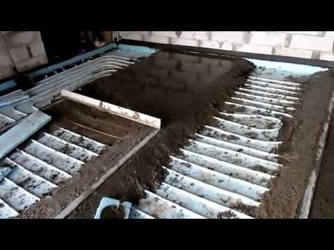 видео: Водяной теплый пол в гараже, своими руками заливка стяжки