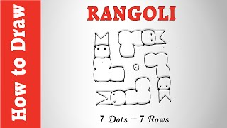 How to Draw an Easy Rangoli with 7 Dots - 7 Rows