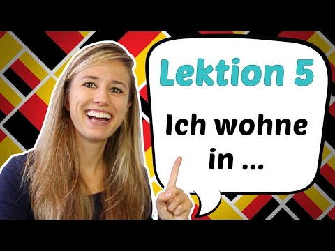 """GERMAN LESSON 5: How to say """"I live in ...."""" in German 🏤 🏥 🏦"""