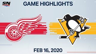 NHL Highlights | Red Wings vs. Penguins - Feb. 16, 2020