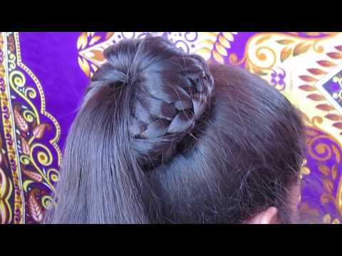 Braided Bun Hairstyle || Easy Lace Braid Bun || Juda Hairstyle