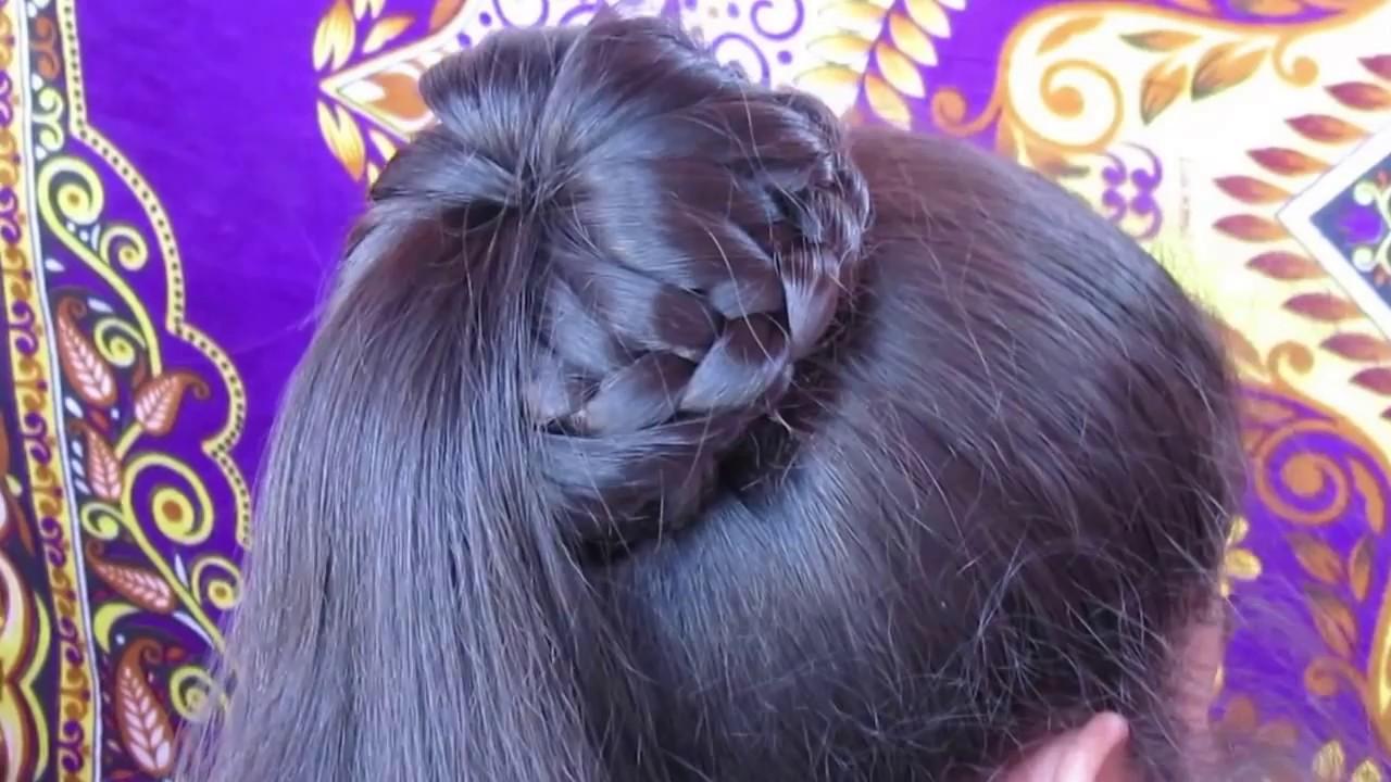 Braided Bun Hairstyle Easy Lace Braid Bun Juda Hairstyle Youtube