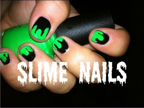 how to paint easy slime halloween nail art  youtube