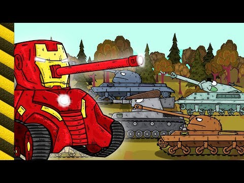 Big tank cartoon. Military tank attack tanks VS Monster Truck Cartoon about tank.