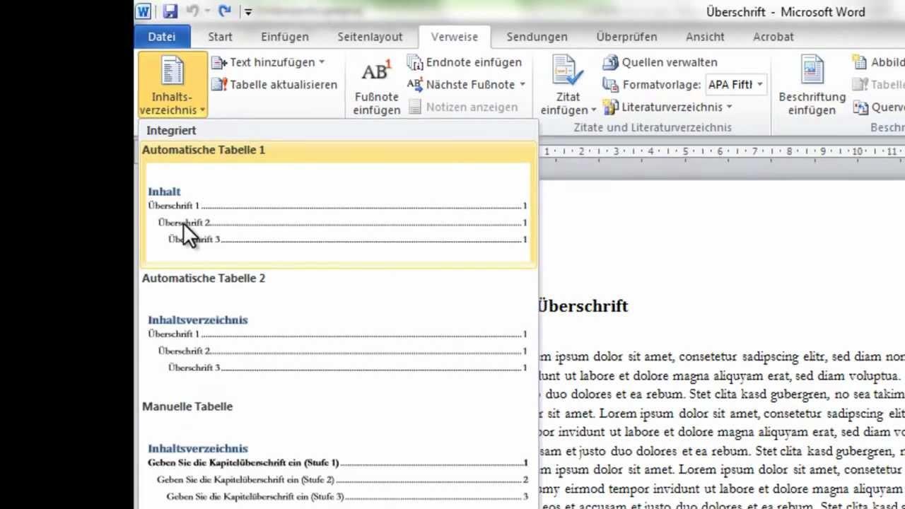 Word 2010 Erstellung Von Inhaltsverzeichnis Und Seitenzahlen Youtube