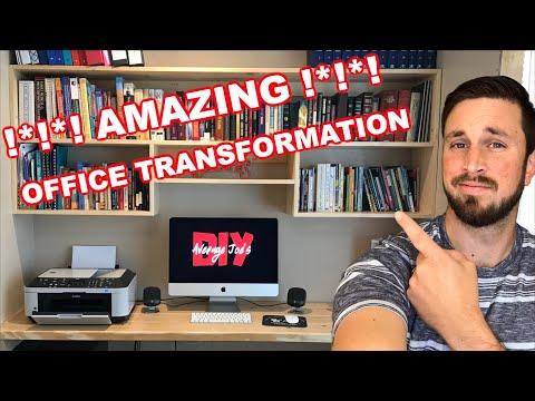 !*!*! Amazing Office Transformation !*!*! - DIY Computer Desk and Hanging Bookshelf
