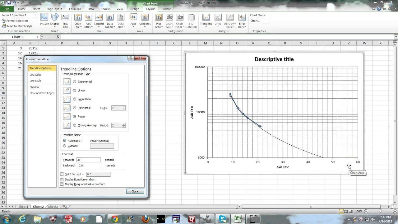 Part exel graphing semi log  trendline also youtube rh