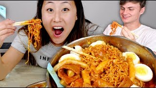 SPICY NOODLES CHALLENGE with CARTER SHARER!! (Mukbang)