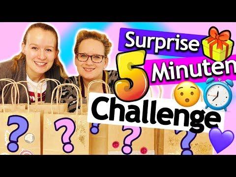 5 Minuten SURPRISE CHALLENGE   Basteln mit Überraschungs Materialien Eva vs. Kathi   DIY Inspiration