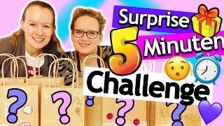 5 Minuten SURPRISE CHALLENGE | Basteln mit Überraschungs Materialien Eva vs. Kathi | DIY Inspiration