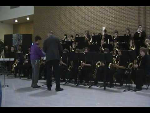 Holmes middle schol jazz band and grayslake middle school jazz band combine to play a song