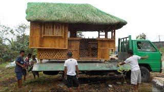 Moving a Bahay Kubo - Nipa Hut - Bayanihan - Transporting 2 of 3