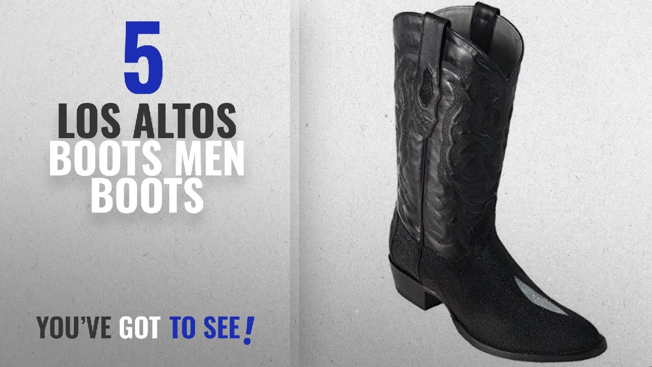 Top 10 Los Altos Boots Men Boots [ Winter 2018 ]: Original Black Single  Stone StingRay Skin Round