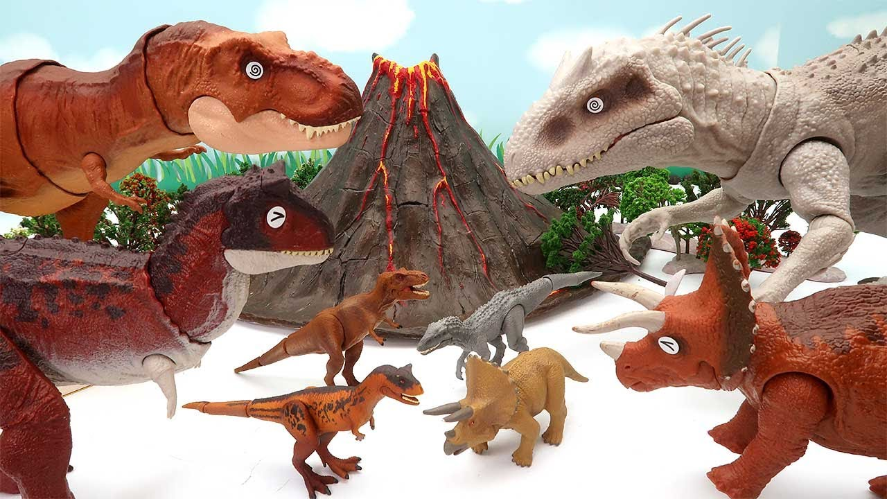 Dinosaur Fun Movie For Kids - Dinosaur, Volcano, Jurassic World Gate Transformer Giant Size Dino 공룡