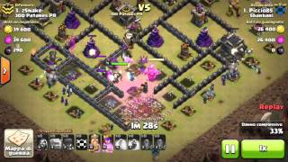 Clash of clans th9 vs th9 gowiwi 3 star by piccio mer**