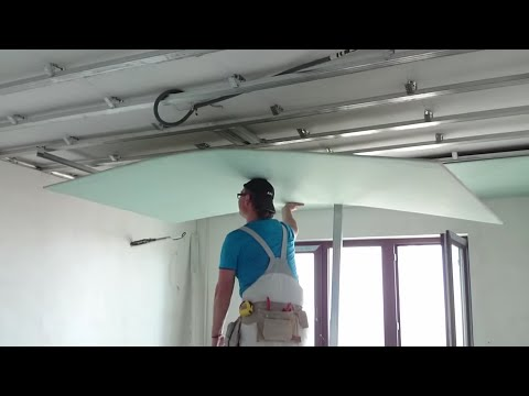 видео: Самый ЛЕГКИЙ монтаж листа гипсокартона в одиночку. easiest way install drywall. Потолок #11.