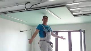 потолок 11. Самый ЛЕГКИЙ монтаж листа гипсокартона в одиночку. Easy way install drywall.(Внимание : опасно для здоровья :) Монтаж целого листа гипсокартона на потолок, за несколько секунд, без помощ..., 2014-10-12T18:18:30.000Z)