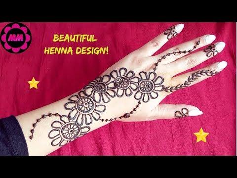 Gulf Style Henna Khaleeji Flowers Mehendi Design Simple Pretty
