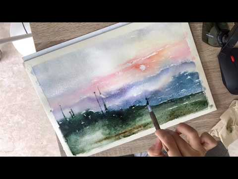 Watercolour. Forest Painting. Sunset, Mountains.