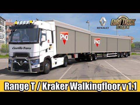 ETS2 - Renault Range T v4.2 / Kraker Walkingfloor Double Trailer v1.1
