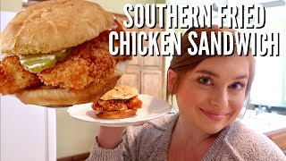 the BEST homemade southern fried chicken sandwich recipe  better than popeyes!