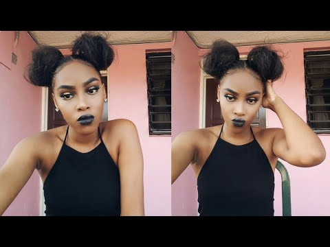 Two buns and baby hair tutorial  relaxed hair  Glam Baby