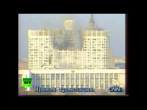 #1993coup: Russian White House burns after being bombarded by tanks