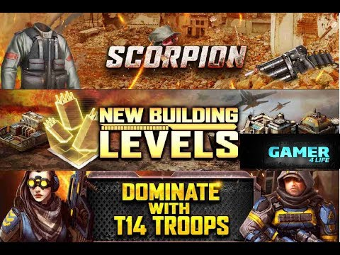 Mobile Strike -New T14 troops, Scorpion Gear ,Co lvl 120 and HQ lvl 110