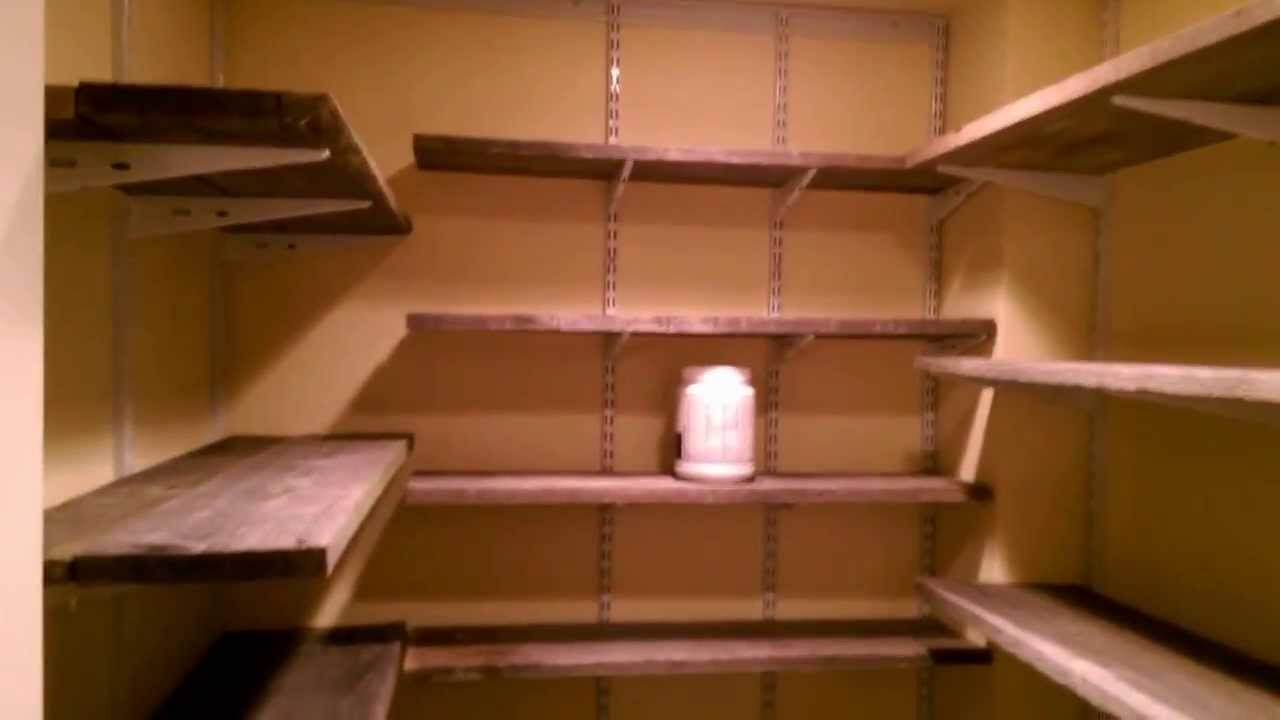 building wood shelves in pantry