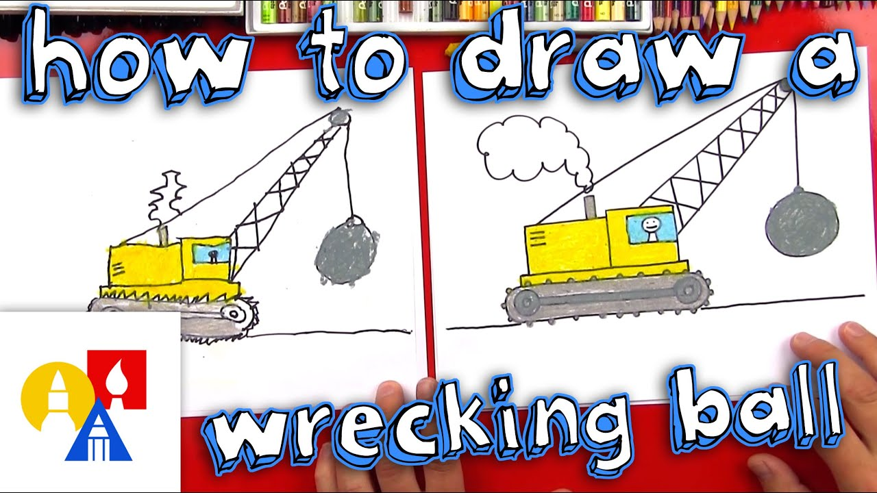 how to draw a wrecking ball crane [ 1280 x 720 Pixel ]