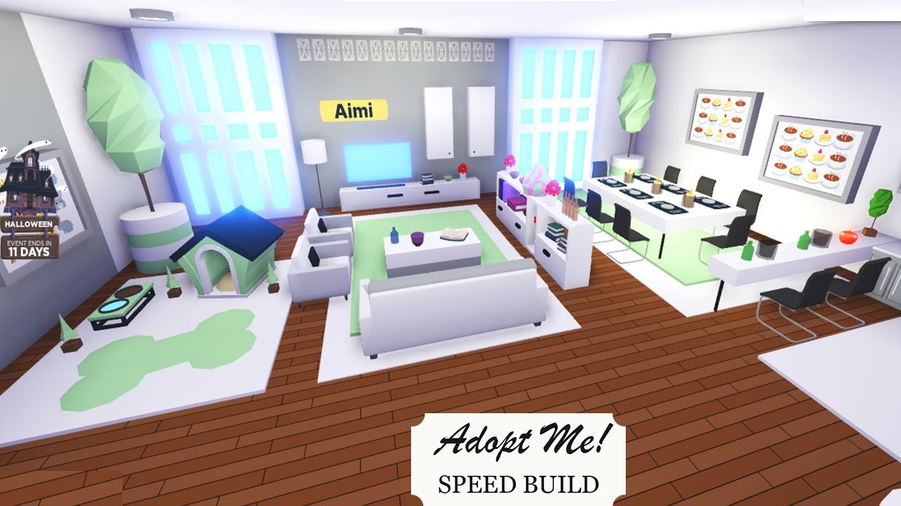 Aesthetic Mint And White Room In A Futuristic House Adopt Me Speed Build Adopt Me Building Hacks Youtube