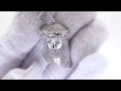 Solid Back Micro Jesus Pendant .925 Sterling Silver Micro Pave