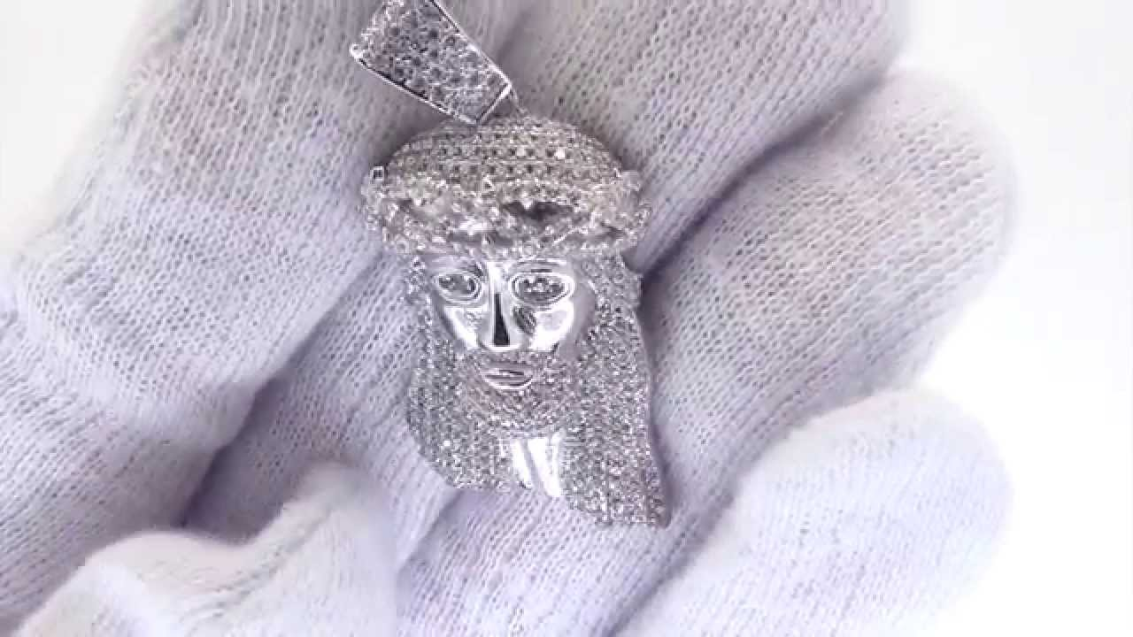 Solid back micro jesus pendant 925 sterling silver micro pave youtube solid back micro jesus pendant 925 sterling silver micro pave aloadofball Image collections