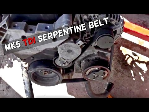VW GOLF JETTA TDI 19 MK5 SERPENTINE BELT DIAGRAM and REPLACEMENT