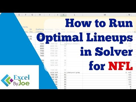 How to run Optimal Lineup in Excel Solver for NFL Football for Fanduel