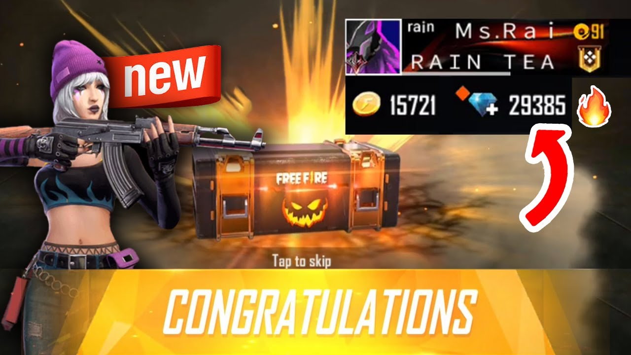 Free Fire BURNING diamonds *INSANE* 😱🔥 How many skins I got? Ms Rainbow