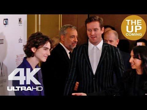 Timothée Chalamet & Armie Hammer arrival: Call Me By Your Name (L Guadagnino), Critics Circle Awards