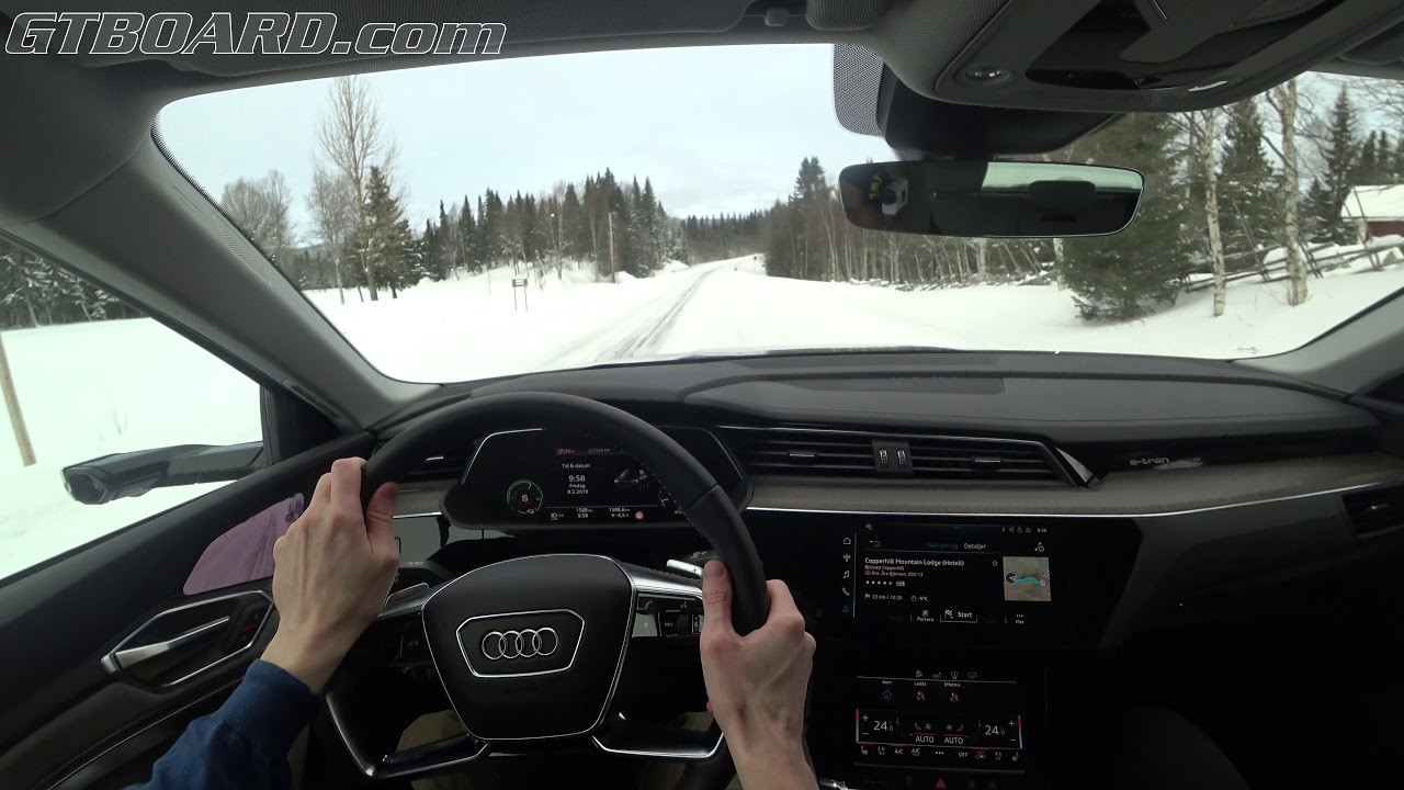 POV Audi E-Tron with Virtual Mirrors on WINTER ROAD! All electric SUV that  actually WORKS?