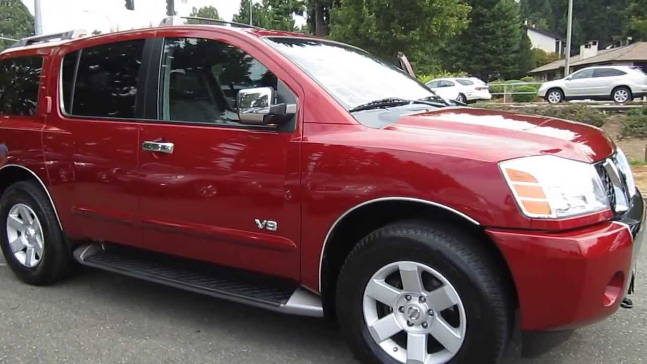 2005 nissan armada, red brawn - stock# 13838a - walk around - youtube