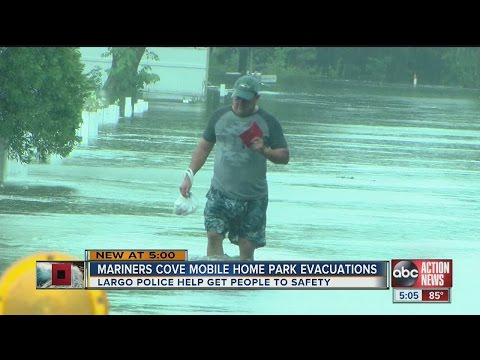 Flooding forces 30 people to evacuate Mariners Cove Mobile Home Park in Clearwater