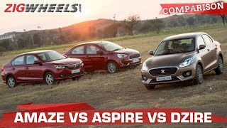 Ford Aspire vs Honda Amaze vs Maruti Suzuki Dzire | Battle of the Petrol compact sedans
