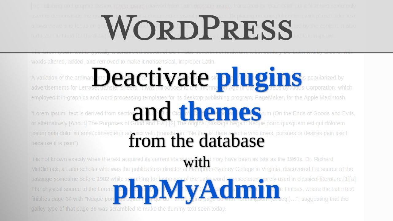 Phpmyadmin2016 -  Through Database Using Phpmyadmin Discusses How More Details Ugotsta Wordpress Com 2015 08 27 Deactivate Wp Plugins Themes Phpmyadmin 2016 11 09