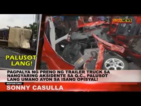 TRIALER TRUCK, NAAKSIDENTE SA QUEZON CITY; DRIVER NAGPALUSOT PA?